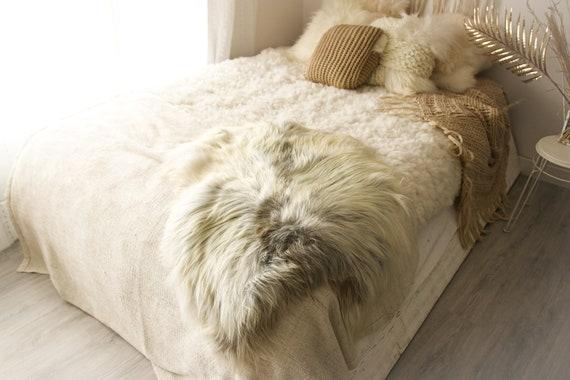 Real Icelandic Sheepskin Rug Scandinavian Decor Sofa Sheepskin throw Chair Cover Natural Sheep Skin Rugs Ivory Gray Fur Rug #Islbeau7