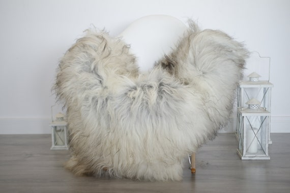 Real Icelandic Sheepskin Rug Scandinavian Decor Sofa Sheepskin throw Chair Cover Natural Sheep Skin Rugs Gray Blanket Fur Rug #isleb23
