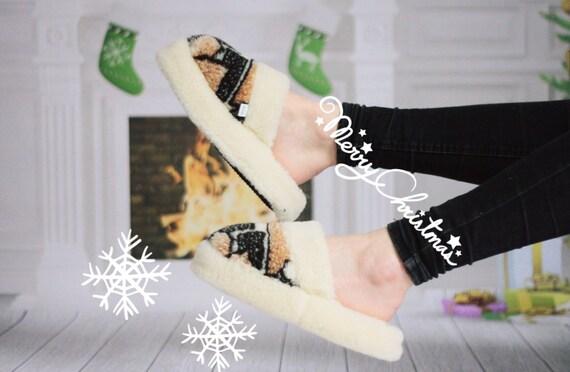 Handmade Sheepskin Lambskin Slippers   100% real WOOL Medical Slippers   Women's Slippers   Men's Slippers   Warm slippers  