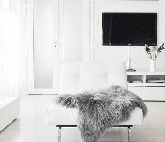 ON SALE Icelandic Sheepskin | Real Sheepskin Rug | Icelandic Sheepskin rug | Gray Sheepskin | Shaggy Rug | Gray rug