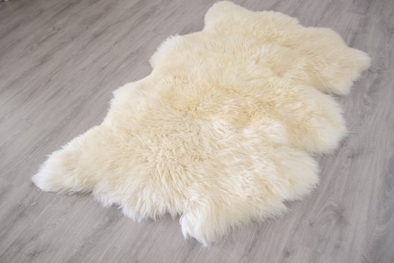 Real Sheepskin Rug Creamy White Huge Sheep skin Throw Blanket