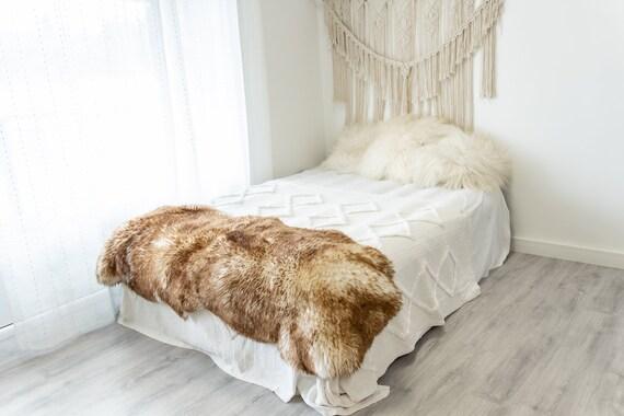 Double Mouflon White Brown Sheepskin Rug | Long rug | Shaggy Rug | Chair Cover | Area Rug | Brown Rug | Carpet | Brown Tips Sheepskin 4POL15