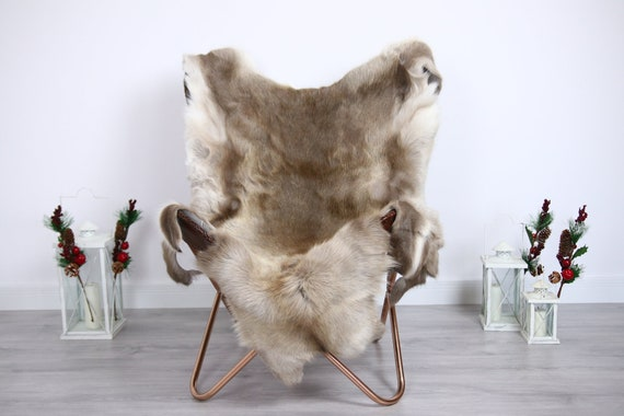 Reindeer Hide | Reindeer Rug | Reindeer Skin | Throw  - Scandinavian Style #ERE1 140X120 | Christmas Decor |