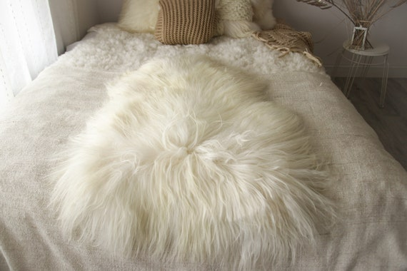 ON SALE ON Sale Exclusive Genuine Natural Icelandic Sheepskin Rug, Pelt, super soft long fur  Creamy White