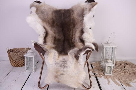 Reindeer Hide   Reindeer Rug   Reindeer Skin   Throw XXL EXTRA LARGE - Scandinavian Style Christmas Decor Brown White Hide #Lre6