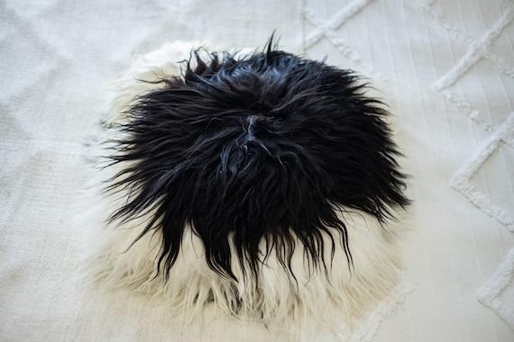Icelandic Sheepskin Fur Pillow, Real fur pillow, Black White fur pillow, Square sheepskin pillow , scandinavian pillow, Both side fur