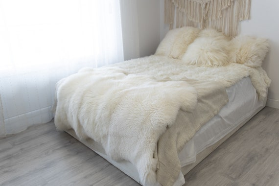Real Fur Sheepskin Throw | Super Large | Sheepskin Rug | Boho Blanket | Merino Triple Sheepskin Creamy White