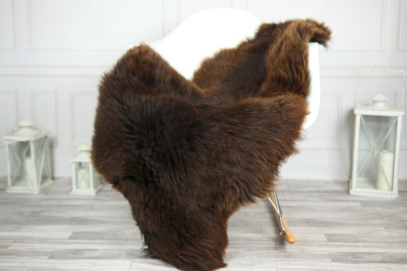 Sheepskin Rug | Real Sheepskin Rug | Shaggy Rug | Chair Cover | Sheepskin Throw | Brown Sheepskin | CHRISTMAS DECOR | #2HER18
