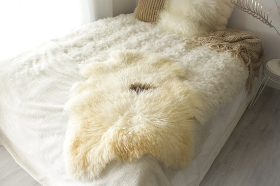 Real Sheepskin Rug Genuine Rare Gotland Sheepskin Rus - Curly Fur Rug Scandinavian Sheepvskin -  Ivory Brown Sheepskin #0Margot16
