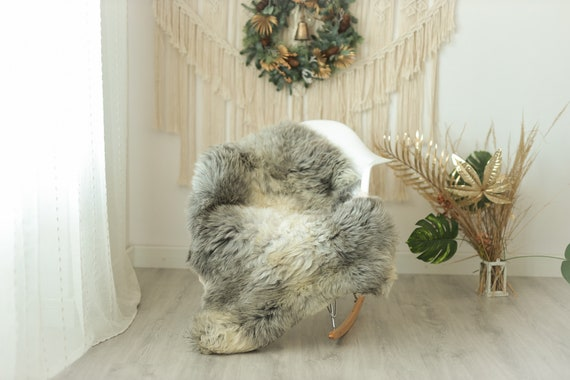 Real Sheepskin Rug Shaggy Rug Chair Cover Sheepskin Throw Sheep Skin Gray Ivory Sheepskin Home Decor Rugs #Gut2