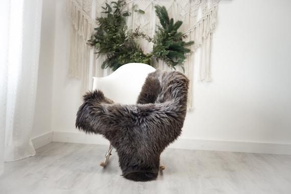 Real Sheepskin Rug Shaggy Rug Chair Cover Scandinavian Home Sheepskin Throw Sheep Skin Brown White Sheepskin Home Decor Rugs #herdwik373