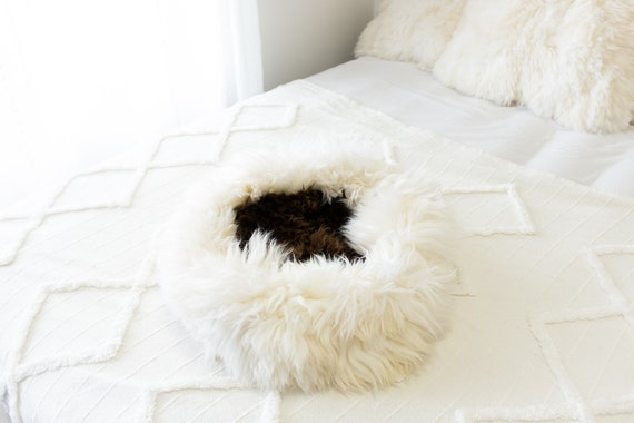 Sheepskin Cat Bed Or Dog Bed Cat Cave Unique Pet Bed Cat House Pet Furniture Hand Made With Genuine Real Sheepskin XXL Extra Large #Bed14
