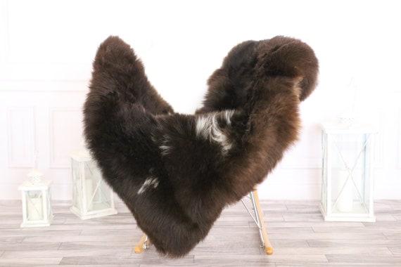 Sheepskin Rug | Real Sheepskin Rug | Shaggy Rug | Scandinavian Rug | | SCANDINAVIAN DECOR | Brown White Sheepskin  #MIHER6