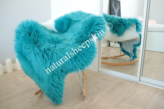Genuine Natural Turquoise Blue Sheepskin Rug Sheepskin Throw  Scandinavian Style | Scandinavian Rug | Turquoise Blue  Sheepskin