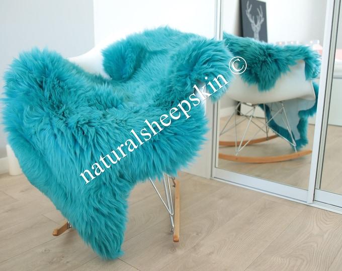 Genuine Natural Turquoise Blue Sheepskin Rug Sheepskin Throw  Scandinavian Style | Scandinavian Rug | Turquoise Blue  Sheepskin