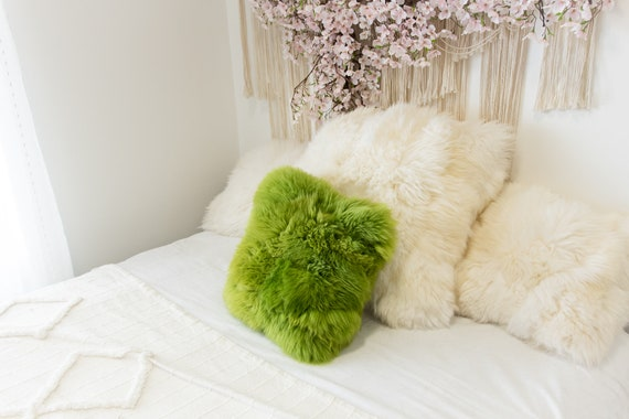 Green ON SALE Beautiful Natural Green Real Sheepskin Decorative Cushion Both Side Fur Scandinavian Style