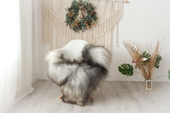 Real Icelandic Sheepskin Rug Scandinavian Decor Sofa Sheepskin throw Chair Cover Natural Sheep Skin Rugs Gray #Iceland27
