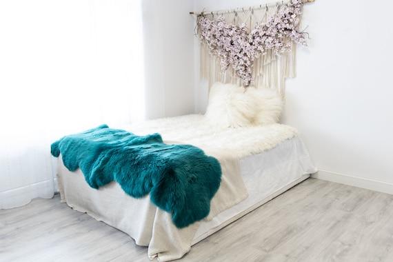 Double Turquoise Merino Sheepskin Rug | Long rug | Shaggy Rug | Chair Cover | Area Rug | Turquoise Rug | Carpet | Turquoise Throw