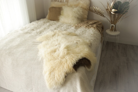 Real Sheepskin Rug Genuine Rare Gotland Sheepskin Rus - Curly Fur Rug Scandinavian Sheepvskin - Brown Ivory Sheepskin #0Margot4