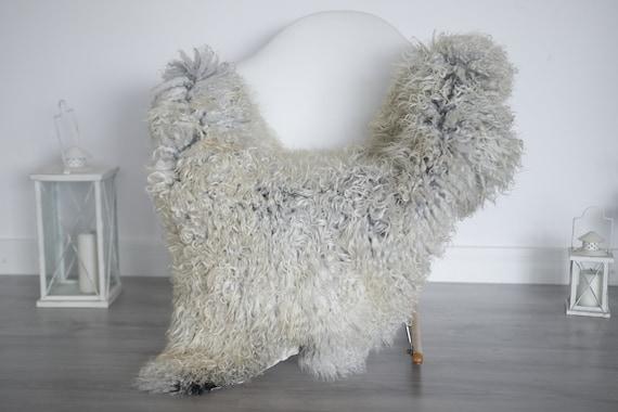 Real Sheepskin Rug Genuine Rare Gotland Sheepskin Rus - Curly Fur Rug Scandinavian Sheepvskin - Gray Sheepskin #1got5