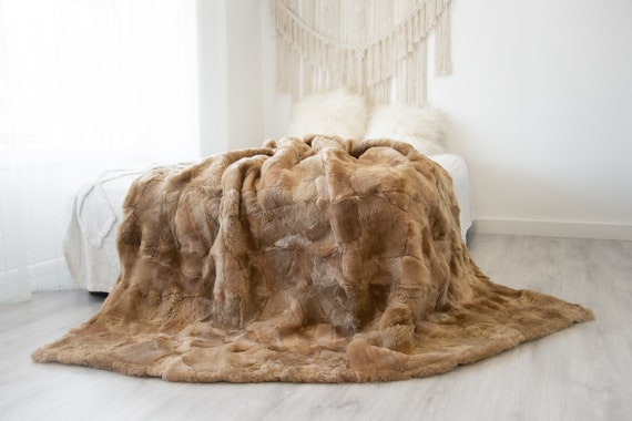 Luxurious Patchwork Toscana Sheepskin Real Fur Throw | Real Fur Blanket | Sheepskin throw | Sheepskin Blanket | Boho Throw |FuFu119