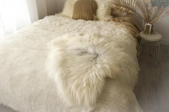 Real Icelandic Sheepskin Rug Scandinavian Decor Sofa Sheepskin throw Chair Cover Natural Sheep Skin Rugs Gray White Fur Rug #Dziatisl3