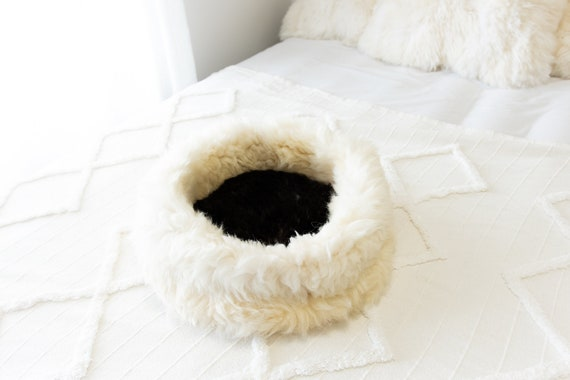 Sheepskin Cat Bed Or Dog Bed Cat Cave Unique Pet Bed Cat House Pet Furniture Hand Made With Genuine Real Sheepskin XXL Extra Large #Bed5