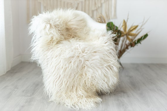 Real Sheepskin Rug Genuine Rare Mongolian Sheepskin Rus - Curly Fur Rug Scandinavian Sheep skin - Ivory Beige Curly Sheepskin #Krecisl3