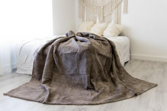 Luxurious Patchwork Sheepskin Real Fur Throw Real Fur Blanket | Sheepskin throw | Sheepskin Blanket Boho Throw Lilac #FuFu114