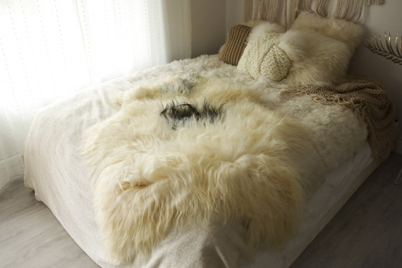 Real Icelandic Sheepskin Rug Scandinavian Decor Sofa Sheepskin throw Chair Cover Natural Sheep Skin Rugs Ivory Gray Fur Rug #Islbeau39
