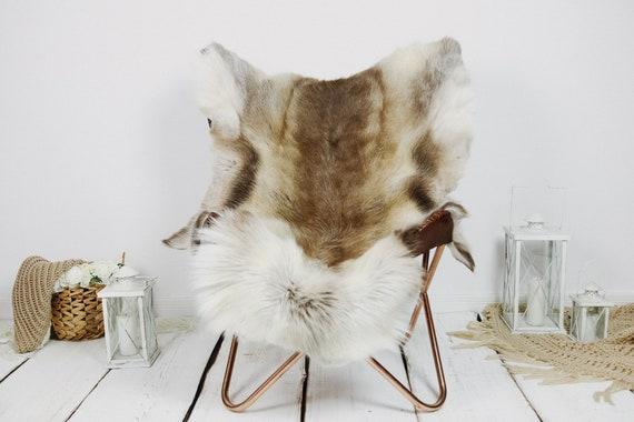 Reindeer Hide | Reindeer Rug | Reindeer Skin | Throw XXL EXTRA LARGE - Scandinavian Style Christmas Decor Brown White Hide #Kre13