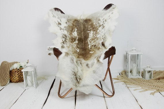 Reindeer Hide | Reindeer Rug | Reindeer Skin | Throw XXL EXTRA LARGE - Scandinavian Style Christmas Decor Brown White Hide #Kre22