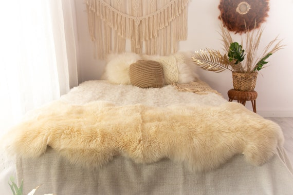Double Sheepskin Rug | Long rug | Shaggy Rug | Chair Cover | Runner Rug | Ivory Rug  | Beige Sheepskin POL18