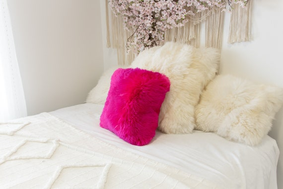 Pink Sheepskin Pillow ON SALE Beautiful Natural Pink Amarant Real Sheepskin Decorative Cushion Both Side Fur Scandinavian Style