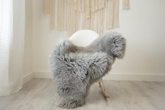 Real Sheepskin Rug Shaggy Rug Chair Cover Scandinavian Home Sheepskin Throw Sheep Skin Gray Sheepskin Home Decor Rugs #herdwik336