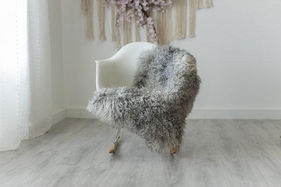 Real Sheepskin Rug Genuine Rare Gotland Sheepskin Rugs - Curly Fur Rug Scandinavian Sheep Skin - Gray White Sheepskin #G11