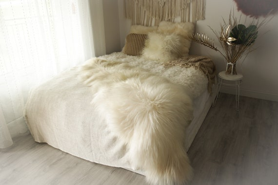 Double Icelandic Sheepskin Rug | Long rug | Shaggy Rug | Chair Cover | Runner Rug | White Rug  | Ivory Sheepskin