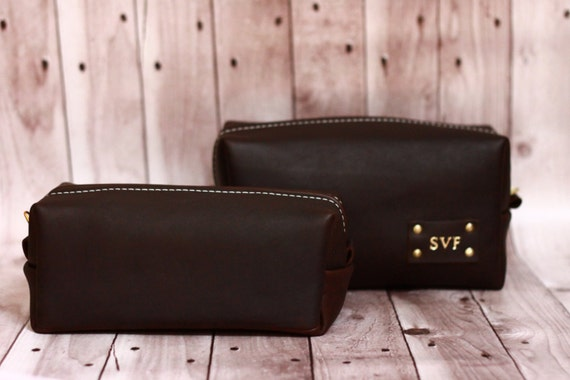 Men's Leather Toiletry Case Dopp Kit Shaving Bag OOAK perfect Christmas Gift for him | Christmas gift for dad | Christmas Gift for man