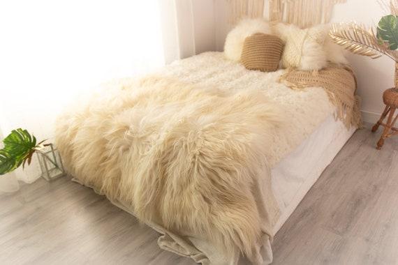 Real Icelandic Sheepskin Throw Scandinavian Decor Sofa Sheepskin throw Chair Cover Natural Sheep Skin Rugs Blanket Fur Triple Rugs #POL10