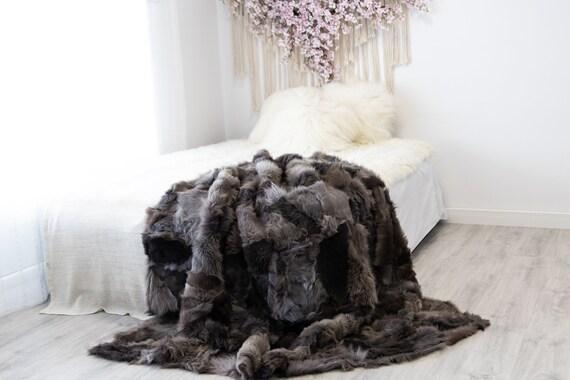 Luxurious Patchwork Toscana Sheepskin Real Fur Throw | Real Fur Blanket | Sheepskin throw | Sheepskin Blanket | Boho Throw |FuFu44
