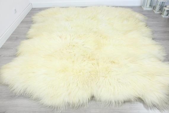 Genuine Natural icelandic creamy white Sheepskin Rug, Giant sheepskin rug, octo sheepskin rug