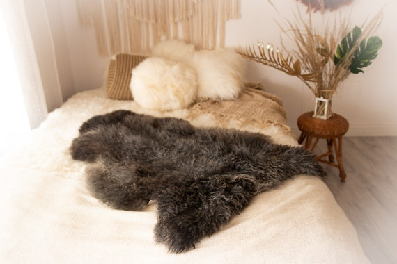 Real Sheepskin Rug Genuine Rare Gotland Sheepskin Rus - Curly Fur Rug Scandinavian Sheep skin - Gray Black Sheepskin #KWAGOT9