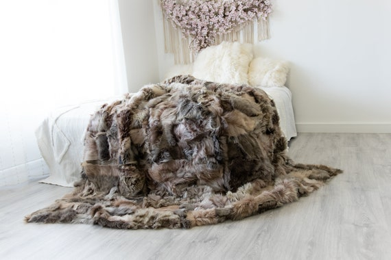 Luxurious Patchwork Toscana Sheepskin Real Fur Throw | Real Fur Blanket | Sheepskin throw | Sheepskin Blanket  Boho Throw Brown Gray #FuFu80