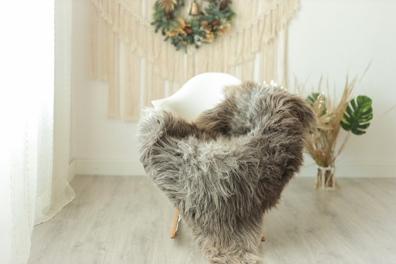 Real Sheepskin Rug Shaggy Rug Chair Cover Sheepskin Throw Sheep Skin Gray Ivory Sheepskin Home Decor Rugs #Gut20