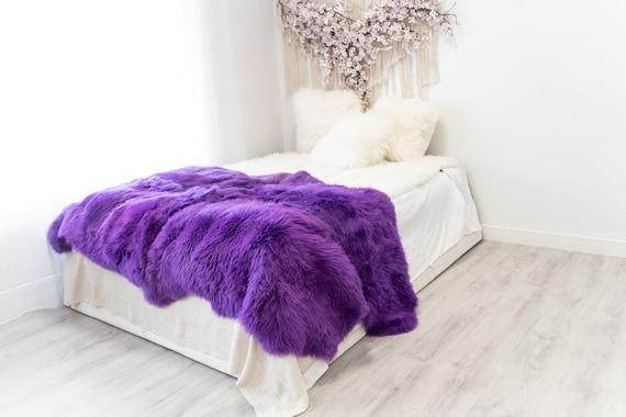 Quad Purple Merino Sheepskin Rug | Long rug | Shaggy Rug | Chair Cover | Area Rug | Purple Rug | Carpet | Purple Throw | Sheep Skin