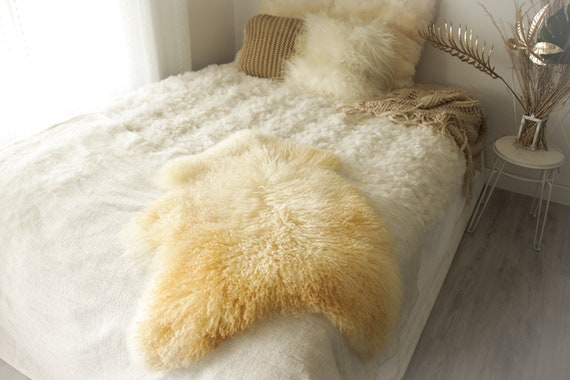 Real Sheepskin Rug Genuine Rare Gotland Sheepskin Rus - Curly Fur Rug Scandinavian Sheepvskin -  Ivory Sheepskin #0Margot8