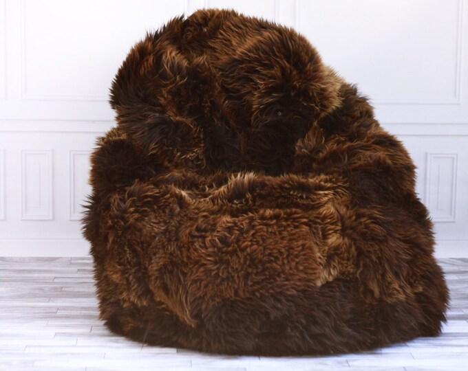 Sheepskin Beanbag Brown   Sheepskin Bean Bag   Sheepskin Pouf   Brown Bean Bag Huge Bean Bag Furry Bean Bag   Bean Bag   Beanbag  