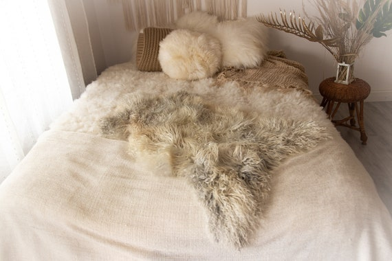 Real Sheepskin Rug Genuine Rare Gotland Sheepskin Rus - Curly Fur Rug Scandinavian Sheep skin - Gray Gold Sheepskin #KWAGOT6