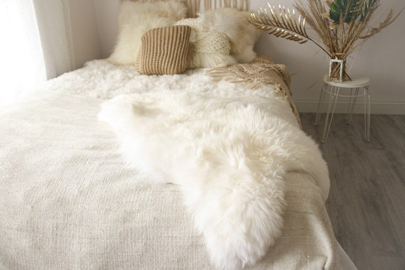ON SALE Real, Natural, Genuine Creamy White Sheepskin Rug