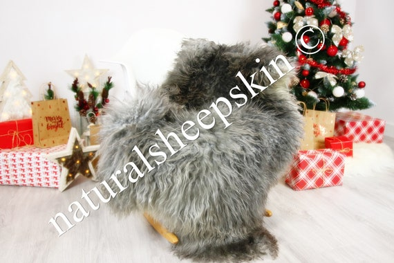 Genuine Rare Gotland Sheepskin Rug - Curly Fur Rug - Natural Sheepskin - Gray  Sheepskin #CHRISTGOT3